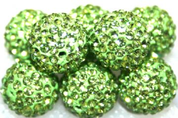 10mm Grass Green 115 Stone Pave Crystal Beads- Half Drilled PCBHD10-115-013